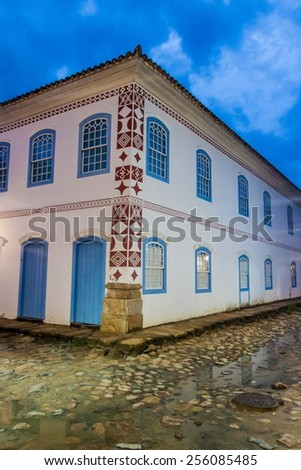 House in an old colonial town Paraty, Brazil - stock photo