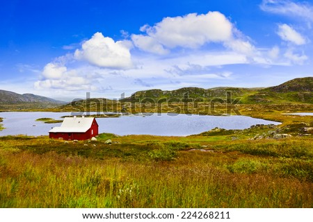 House in Buskerud region of Norway - nature and travel background - stock photo
