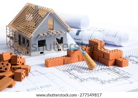 Fabulous House Construction Project Brick Blueprint Stock Photo 277549817 Inspirational Interior Design Netriciaus