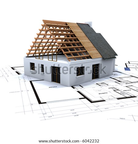 House in contruction process on top of architect's blueprints - stock photo