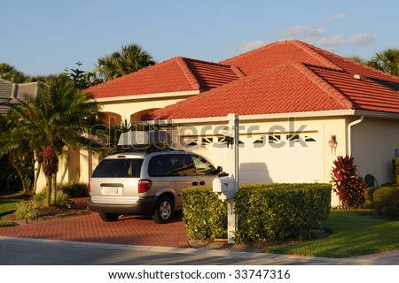 House in Florida on a Sunny Day - stock photo