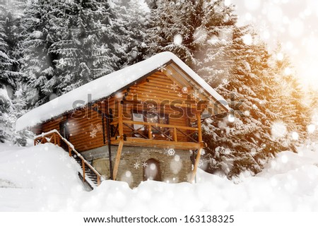 House in forest. Winter day - stock photo