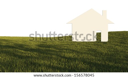 House in green field made in 3d software - stock photo