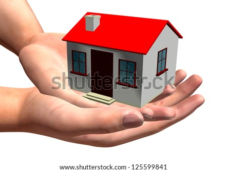 HOUSE IN HAND - 3D - stock photo
