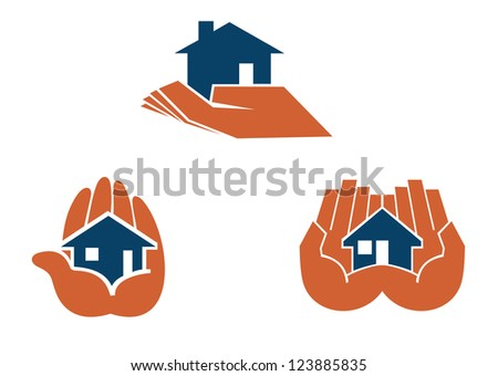 House in hands symbols and pictograms for real estate business design, such as idea of logo. Vector version also available in gallery - stock photo