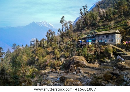 House in Himalayan mountains, Nepal - stock photo