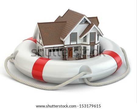 House in life belt. Conceptual image. 3d - stock photo