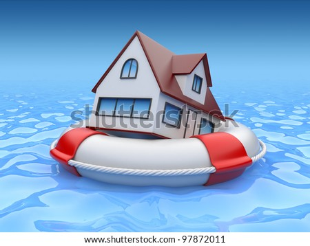 House in lifebuoy. Property insurance concept - stock photo