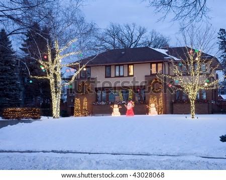 House in Minneapolis at Christmas season - stock photo
