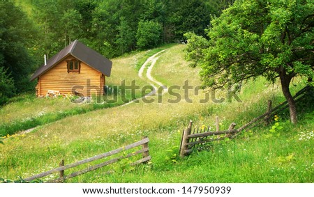 House in mountain meadow. Nature composition. - stock photo