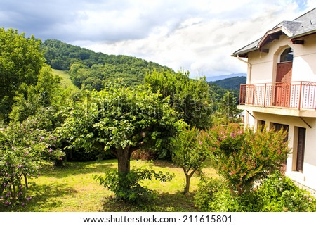 House in mountains, Pyrenees, France - stock photo