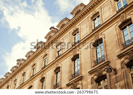house in Paris and blue sky - stock photo