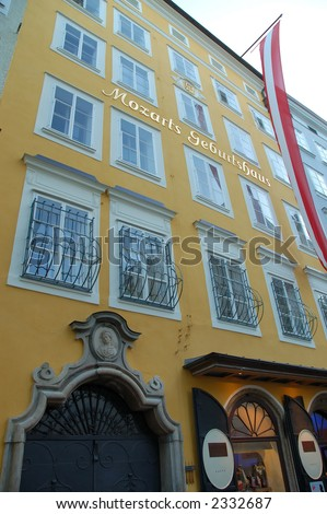 House in Salzburg where Mozart was born - stock photo