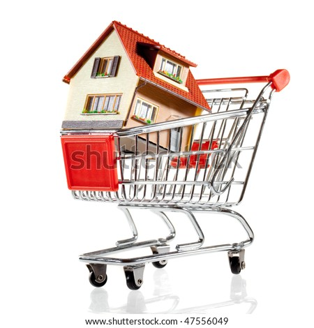 House in shopping cart on a white background - stock photo
