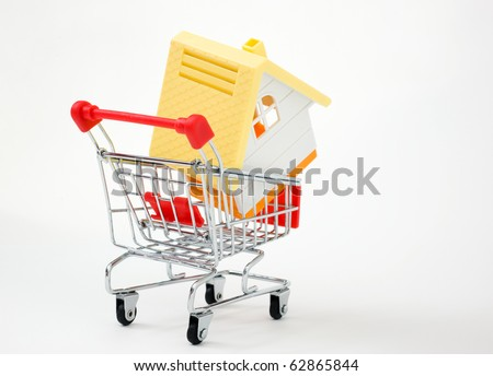 House in shopping cart on a white background. - stock photo