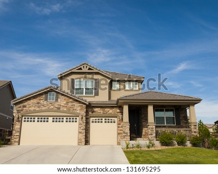 House in suburban development of Denver, Colorado. - stock photo