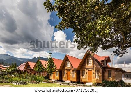 House in the amazon jungle, Peru. - stock photo