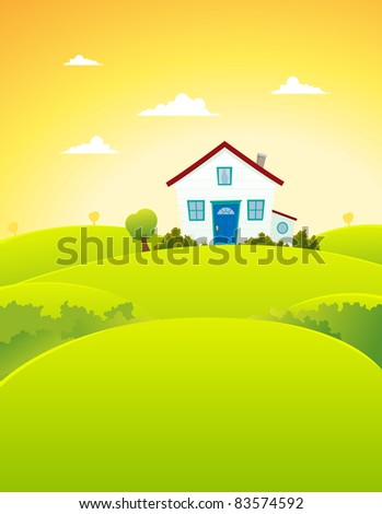 House In The Fields/ Illustration of a cartoon house inside beautiful meadows landscape in summer  season - stock photo
