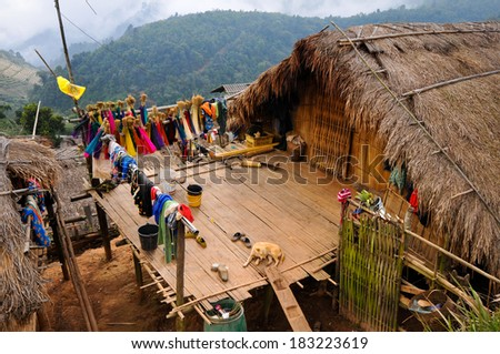 House in the mountain (North Thailand)  - stock photo