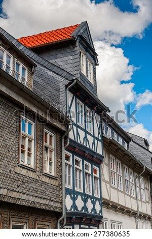 House in the Old town of Gorlar, Lower Saxony, Germany. Old town of Goslar is a UNESCO World Heritage - stock photo