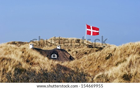 House in the sand dunes with thatched roof and Danish flag - stock photo