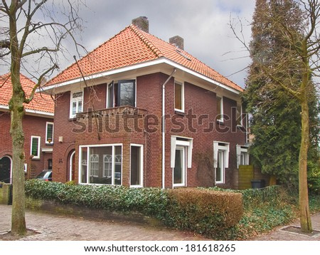 House in the suburb. Netherlands  - stock photo