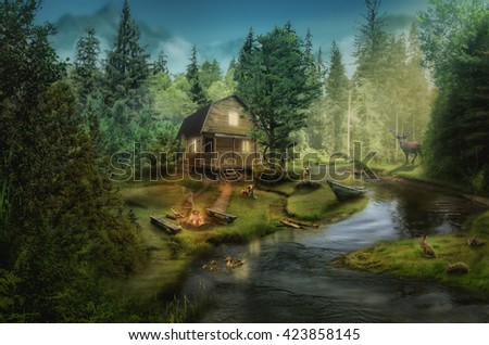house in the the forest by the creek (illustration of a fictional situation, in the form collage of photos) - stock photo