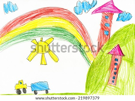 house in the village. childs drawing.  - stock photo