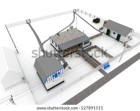 House in the village on white - stock photo