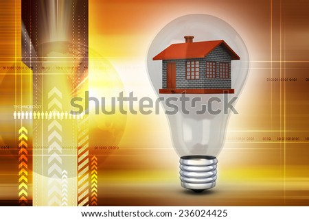 House in to the light bulb, ecology concept - stock photo
