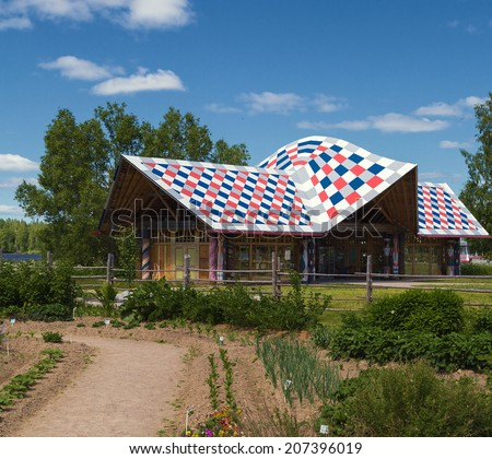 house in village architecture Russia, Leningrad Region, Podporozhsky. - stock photo
