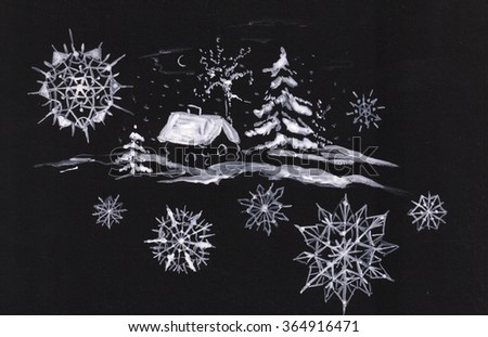 house in winter with snowflakes
