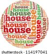 House info-text graphics and arrangement concept on white background (word cloud) - stock photo