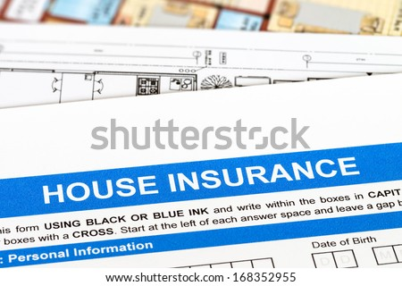 House insurance application with construction plan - stock photo