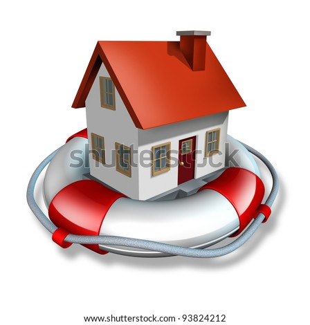 House insurance home owner protection from mortgage interest rates as a home in a lifesaver and real estate financial and structural  risk as security from hazards like flooding fire and burglary. - stock photo