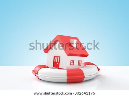 House insurance , House in lifebuoy , Blue background - stock photo