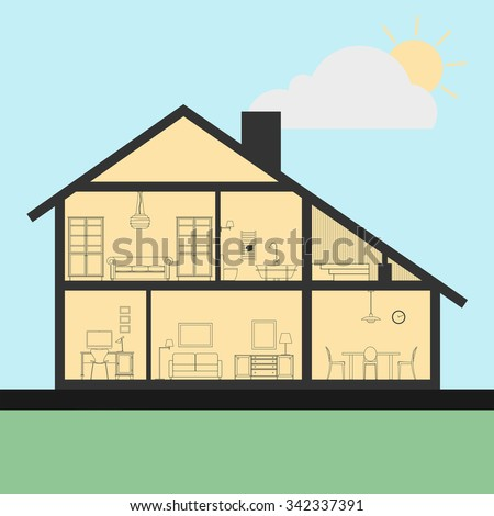 House interior in cut. Detailed plan cross-sectional view room and bath, kitchen. Flat style illustration.  - stock photo