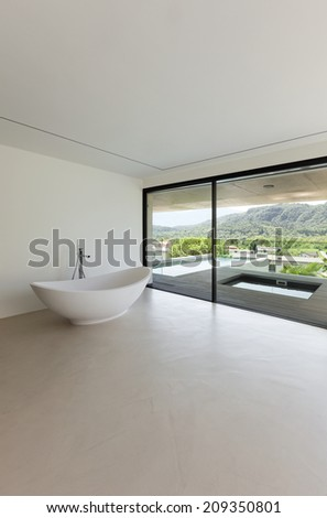 House, interior, modern architecture, bathroom view - stock photo