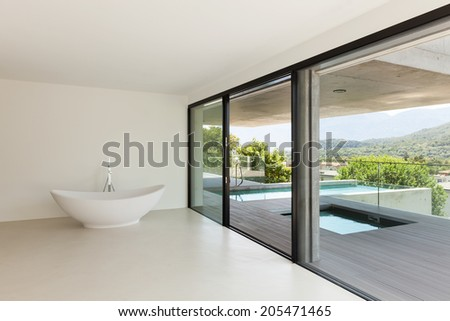 House, interior, modern architecture, empty room with bath - stock photo
