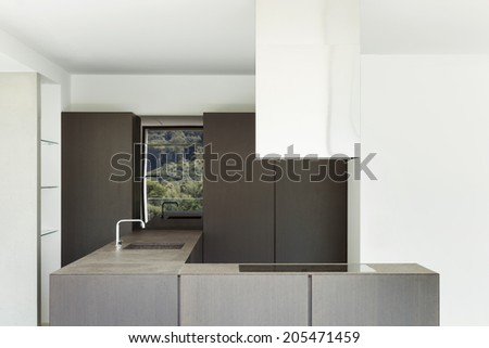 House, interior, modern architecture, kitchen view