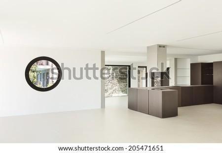 House, interior, modern architecture, kitchen view - stock photo