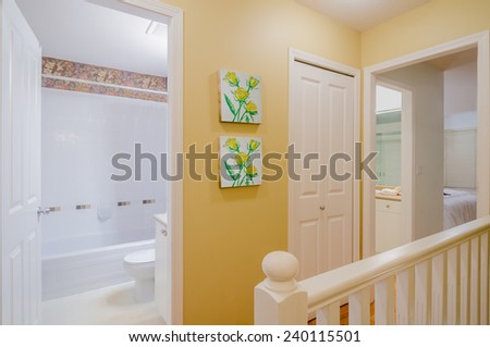 House interior of modern stairs and hallway - stock photo