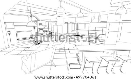 outline sketch drawing perspective interior space stock vector