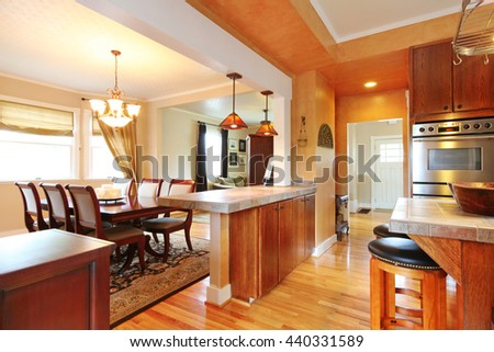 House Interior With Open Wall Design. View Of Dining Table Set, Kitchen Room  And Part 92