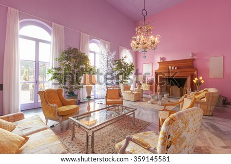 House interiors furnished, classic style living room - stock photo