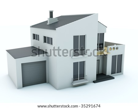 House isolated on white - stock photo