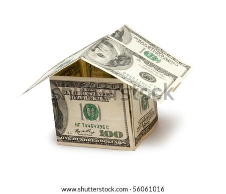 house isolated on white, money - stock photo