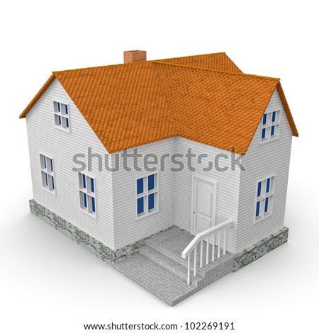house isolated on white with shadow. 3D illustration