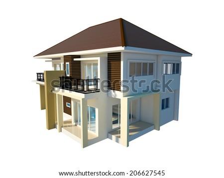 house isolated white background - stock photo