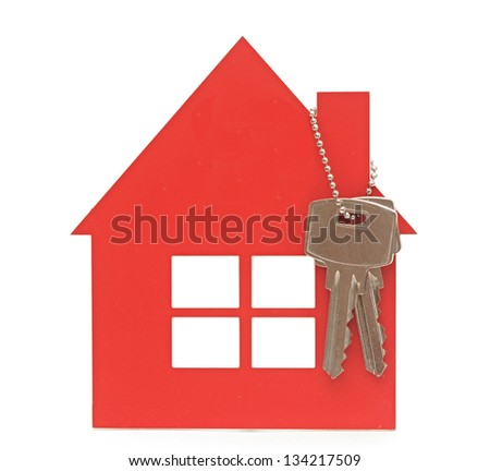 house key and red home estate security - stock photo